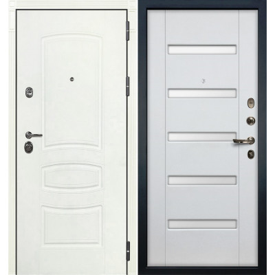 Входная дверь Лекс Сенатор 3К Белая шагрень / Ясень белый (панель №34)