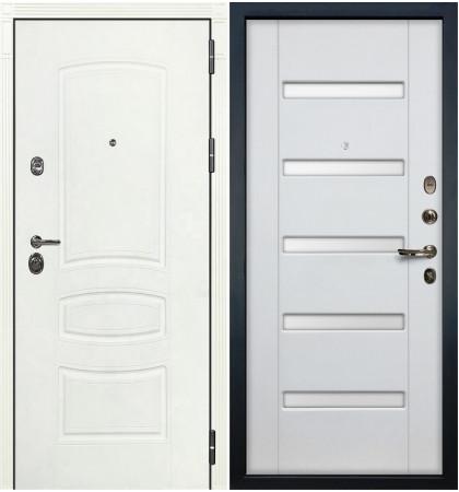 Входная дверь Сенатор 3К Белая шагрень / Ясень белый (панель №34)