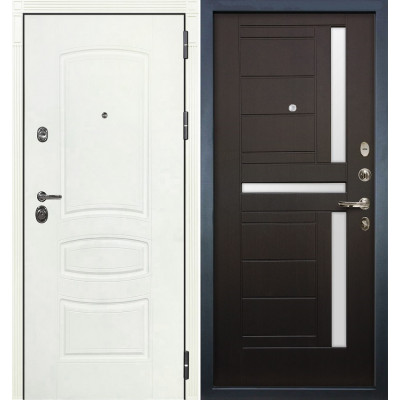 Входная дверь Лекс Сенатор 3К Белая шагрень / Венге (панель №35)