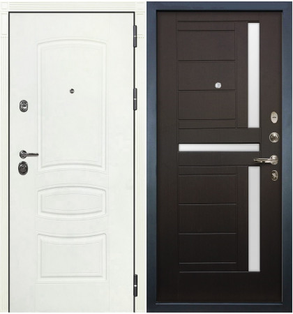 Входная дверь Сенатор 3К Белая шагрень / Венге (панель №35)
