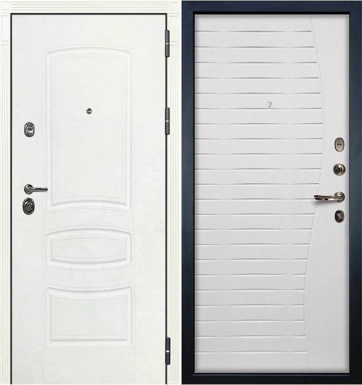 Входная дверь Лекс Сенатор 3К Белая шагрень / Белый ясень (панель №36)