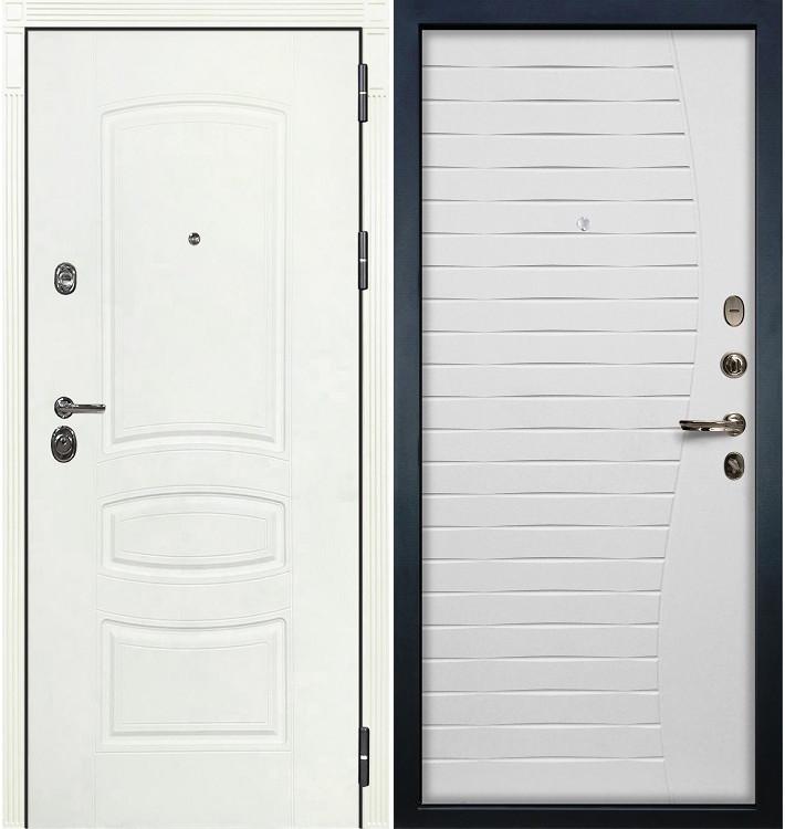 Входная дверь Сенатор 3К Белая шагрень / Волна Белый ясень (панель №36)
