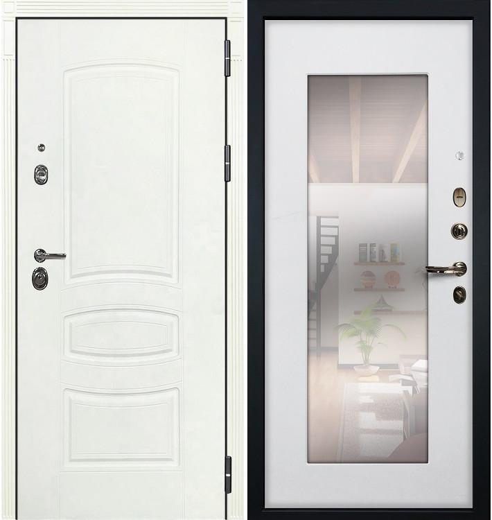Входная дверь Сенатор 3К Белая шагрень / с зеркалом Белый ясень (панель №37)