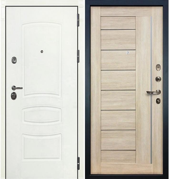 Входная дверь Сенатор 3К Белая шагрень / Сицилио Ясень кремовый (панель №48)