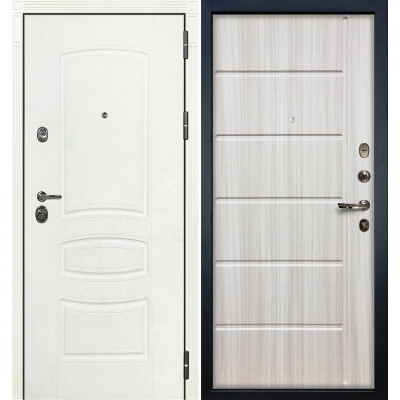 Входная дверь Лекс Сенатор 3К Белая шагрень / Сандал белый (панель №42)