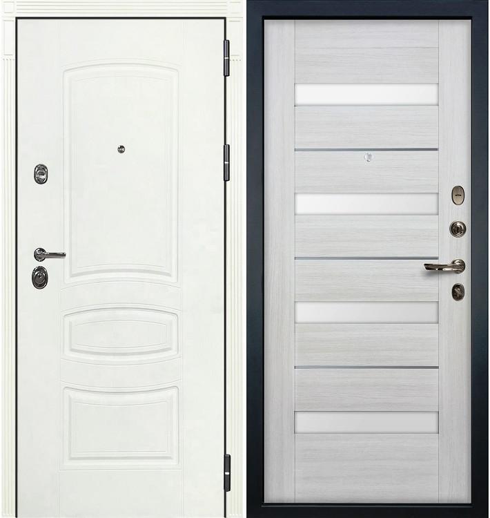 Входная дверь Сенатор 3К Белая шагрень / Сицилио Беленый дуб (панель №46)