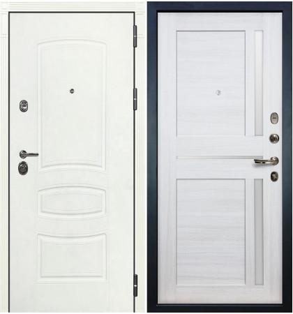 Входная дверь Сенатор 3К Белая шагрень / Баджио Беленый дуб (панель №47)