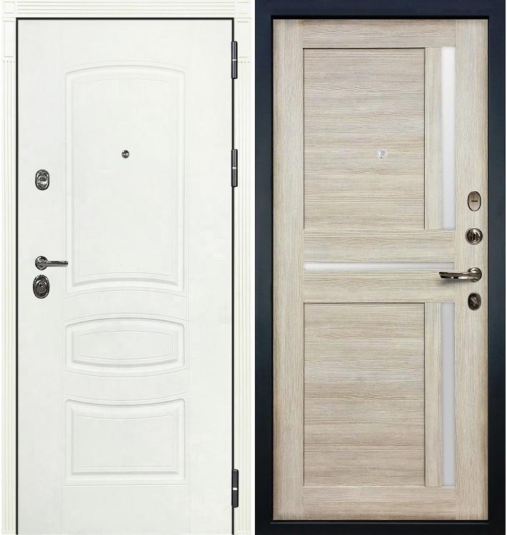Входная дверь Сенатор 3К Белая шагрень / Баджио Кремовый ясень (панель №49)