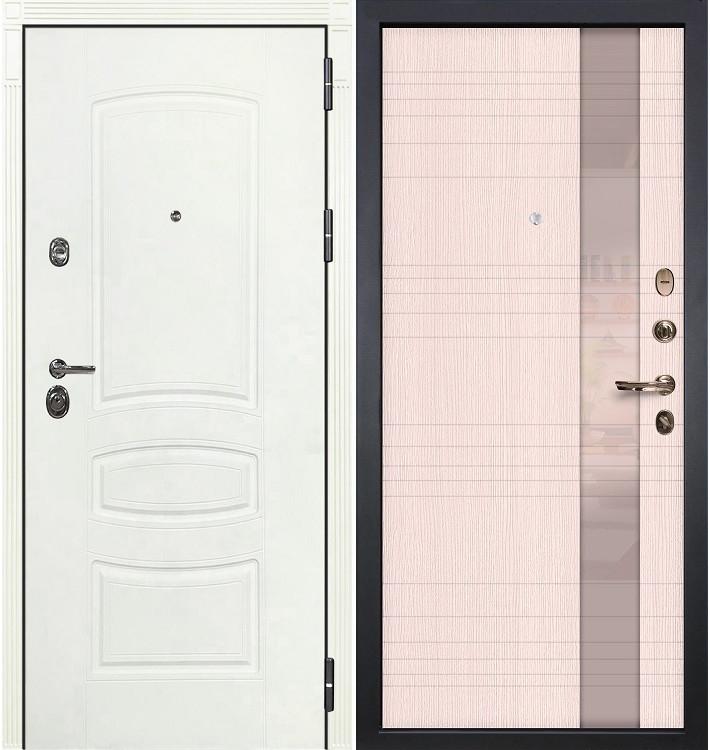 Входная дверь Сенатор 3К Белая шагрень / Новита Беленый дуб (панель №52)