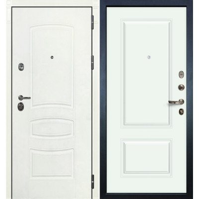 Входная дверь Лекс Сенатор 3К Белая шагрень / Виктория Белая эмаль (панель №55)