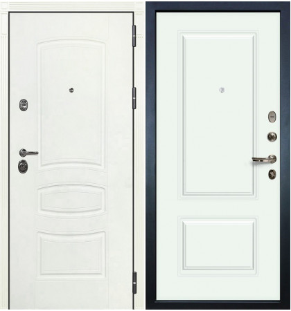 Входная дверь Сенатор 3К Белая шагрень / Виктория Белая эмаль (панель №55)