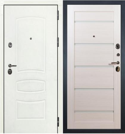 Входная дверь Сенатор 3К Белая шагрень / Клеопатра Беленый дуб (панель №58)