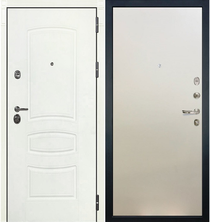 Входная дверь Сенатор 3К Белая шагрень / Белый ясень (панель №62)