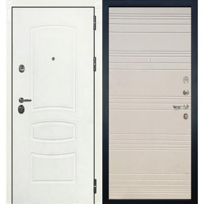 Входная дверь Лекс Сенатор 3К Белая шагрень / Дуб фактурный крем (панель №63)