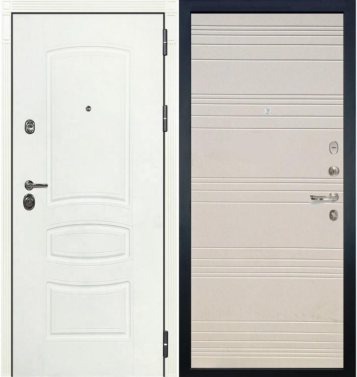 Входная дверь Сенатор 3К Белая шагрень / Дуб фактурный крем (панель №63)