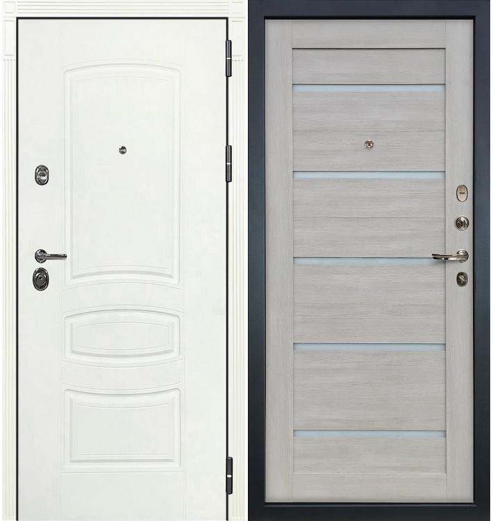 Входная дверь Сенатор 3К Белая шагрень / Клеопатра Ясень кремовый (панель №66)