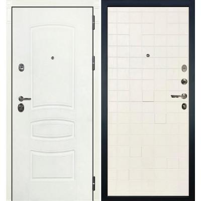 Входная дверь Лекс Сенатор 3К Белая шагрень / Белый ясень (панель №56)