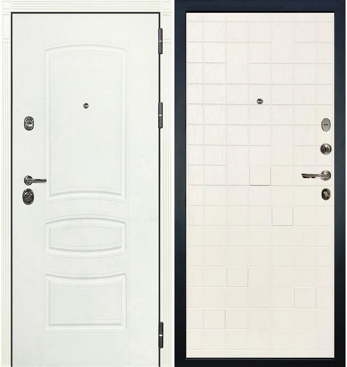 Входная дверь Сенатор 3К Белая шагрень / Белый ясень (панель №56)