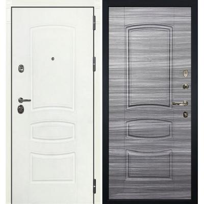 Входная дверь Лекс Сенатор 3К Белая шагрень / Сандал серый (панель №69)