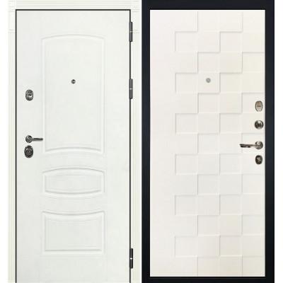 Входная дверь Лекс Сенатор 3К Белая шагрень / Квадро Белая шагрень (панель №71)