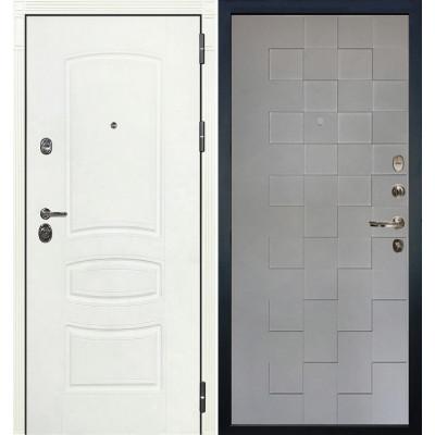 Входная дверь Лекс Сенатор 3К Белая шагрень / Квадро Графит софт (панель №72)