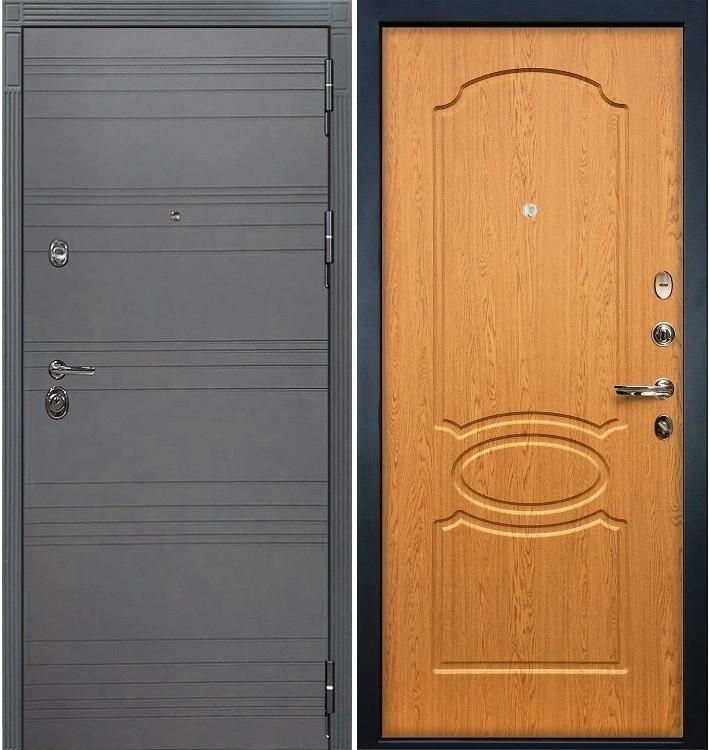 Входная дверь Сенатор 3К Графит софт / Дуб натуральный (панель №15)