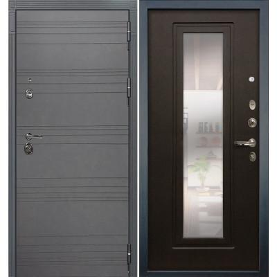 Входная дверь Лекс Сенатор 3К Графит софт с зеркалом / Венге (панель №22)