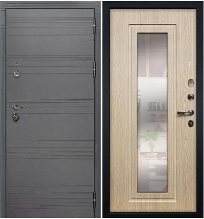 Входная дверь Сенатор 3К Графит софт / с зеркалом Беленый дуб (панель №23)