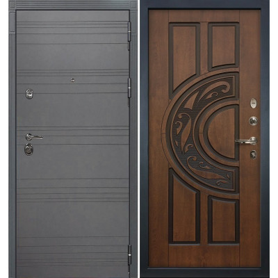 Входная дверь Лекс Сенатор 3К Графит софт / Голден патина черная (панель №27)
