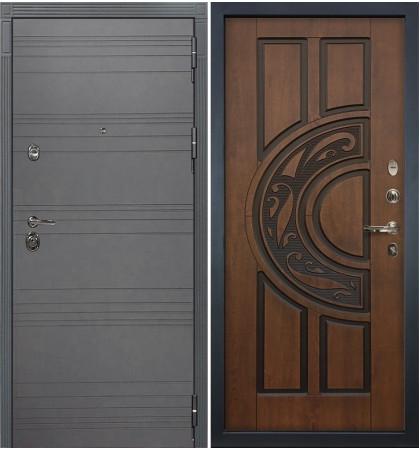 Входная дверь Сенатор 3К Графит софт / Голден патина черная (панель №27)