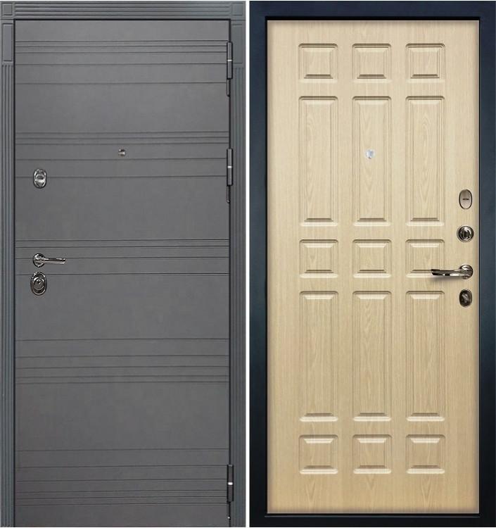 Входная дверь Лекс Сенатор 3К Графит софт / Беленый дуб (панель №28)