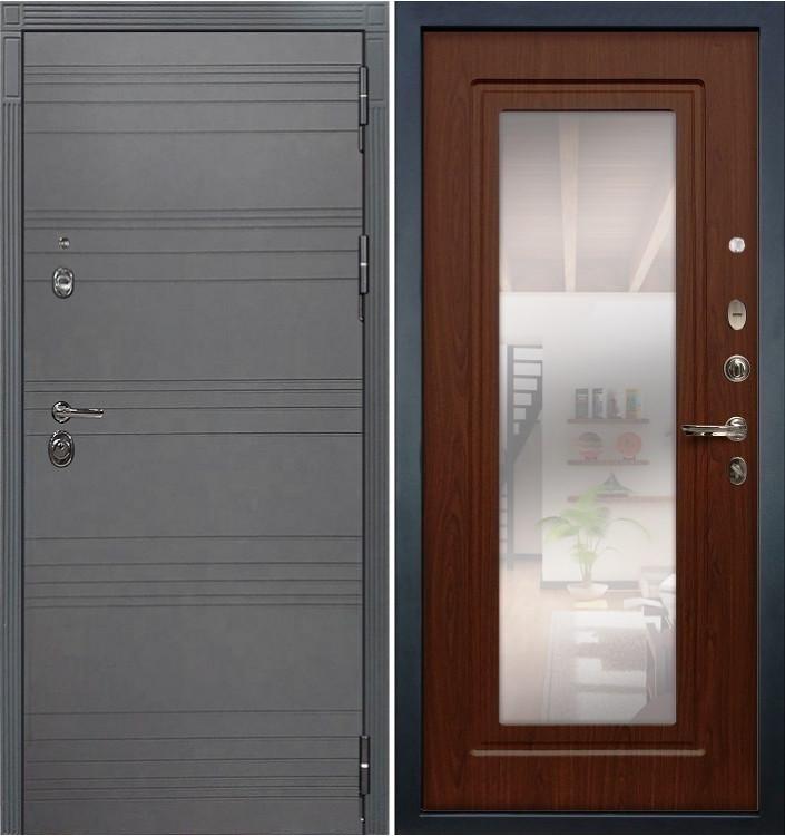 Входная дверь Лекс Сенатор 3К Графит софт с зеркалом / Береза мореная (панель №30)