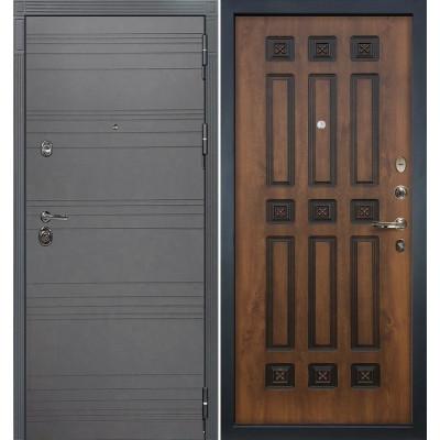 Входная дверь Лекс Сенатор 3К Графит софт / Голден патина черная (панель №33)