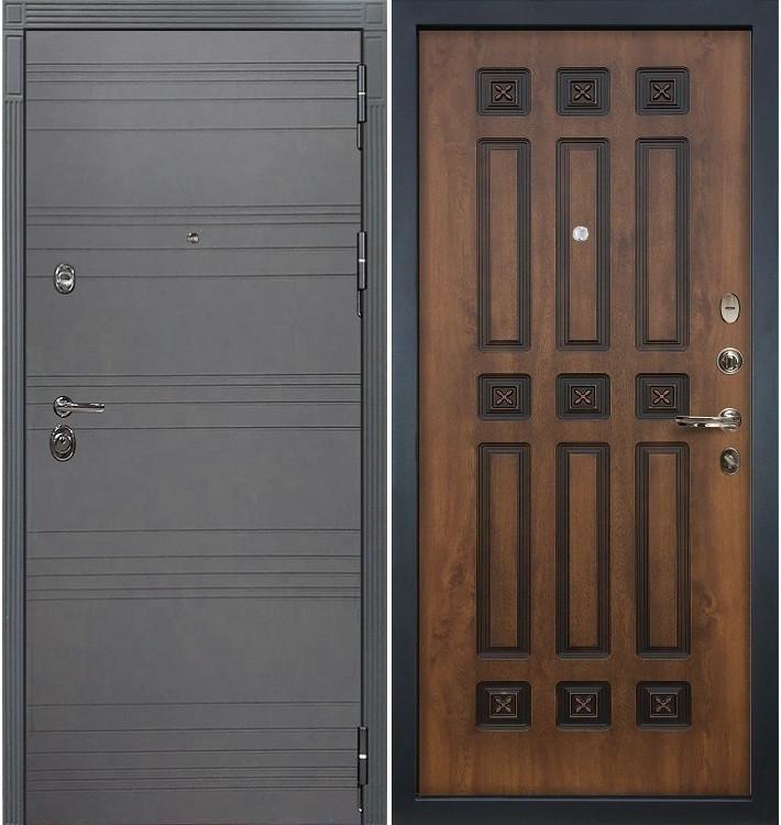 Входная дверь Сенатор 3К Графит софт / Голден патина черная (панель №33)