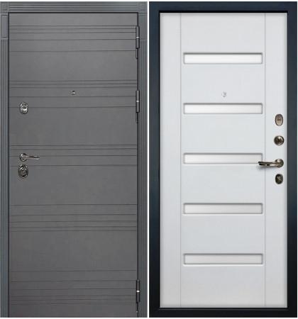 Входная дверь Сенатор 3К Графит софт / Белый ясень (панель №34)