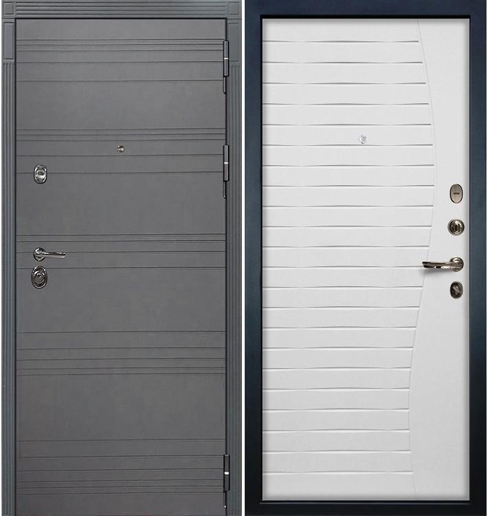 Входная дверь Сенатор 3К Графит софт / Белый ясень (панель №36)