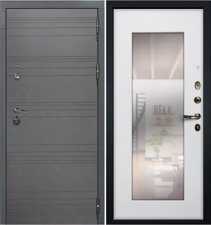 Входная дверь Лекс Сенатор 3К Графит софт с зеркалом / Белый ясень (панель №37)