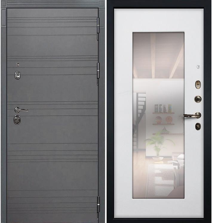 Входная дверь Сенатор 3К Графит софт / с зеркалом Белый ясень (панель №37)