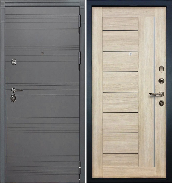 Входная дверь Лекс Сенатор 3К Графит софт / Верджиния Ясень кремовый (панель №40)