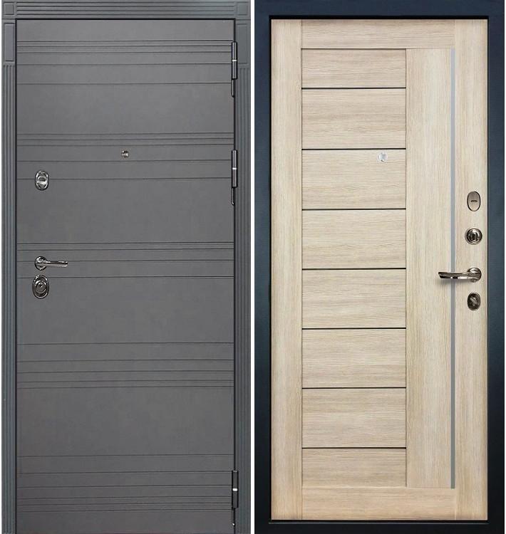 Входная дверь Сенатор 3К Графит софт / Верджиния Ясень кремовый (панель №40)