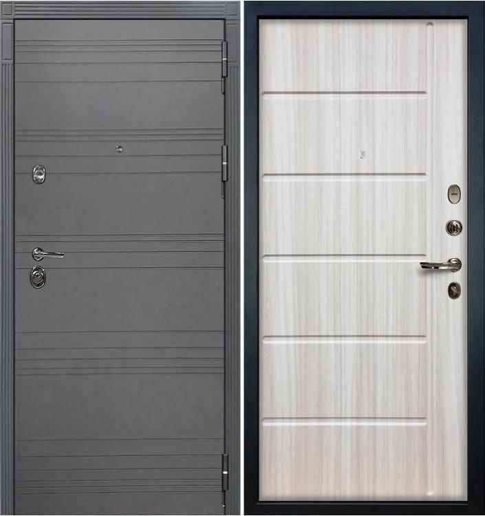 Входная дверь Лекс Сенатор 3К Графит софт / Сандал белый (панель №42)