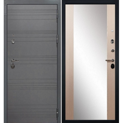Входная дверь Лекс Сенатор 3К Графит софт с зеркалом / Стиль Беленый дуб (панель №45)