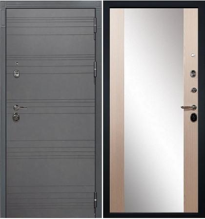 Входная дверь Сенатор 3К Графит софт с зеркалом / Стиль Беленый дуб (панель №45)
