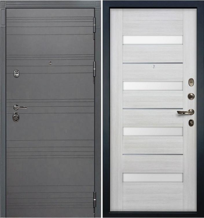 Входная дверь Лекс Сенатор 3К Графит софт / Сицилио Беленый дуб (панель №46)