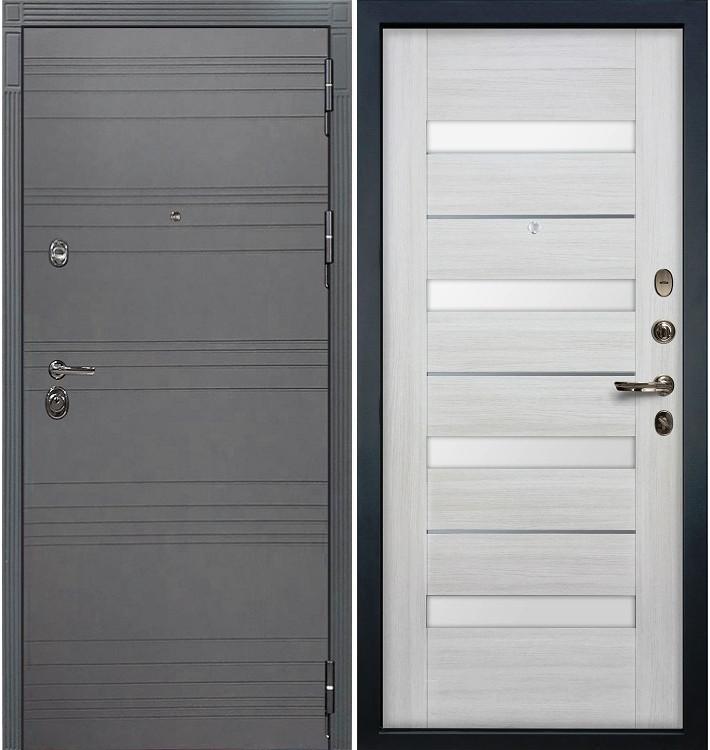 Входная дверь Сенатор 3К Графит софт / Сицилио Беленый дуб (панель №46)