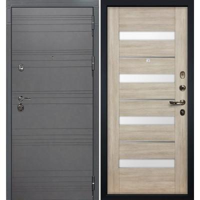 Входная дверь Лекс Сенатор 3К Графит софт / Сицилио Ясень кремовый (панель №48)