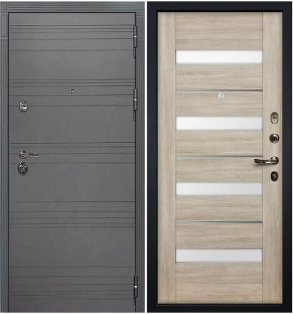 Входная дверь Сенатор 3К Графит софт / Сицилио Ясень кремовый (панель №48)