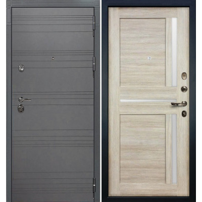 Входная дверь Лекс Сенатор 3К Графит софт / Баджио Ясень кремовый (панель №49)