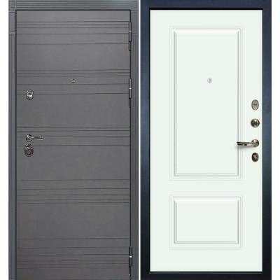 Входная дверь Лекс Сенатор 3К Графит софт / Белая эмаль Вероника-1 (панель №55)