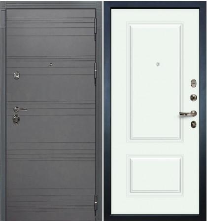Входная дверь Сенатор 3К Графит софт / Белая эмаль Вероника-1 (панель №55)